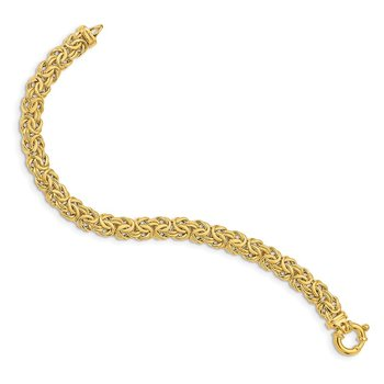 14k Fancy Graduated 7-12mm Flat Byzantine Necklace