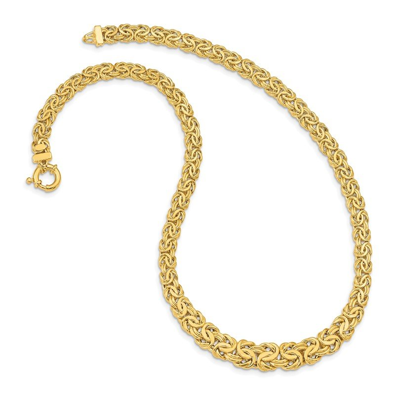 Quality Gold 14k Fancy Graduated 7-12mm Flat Byzantine Necklace