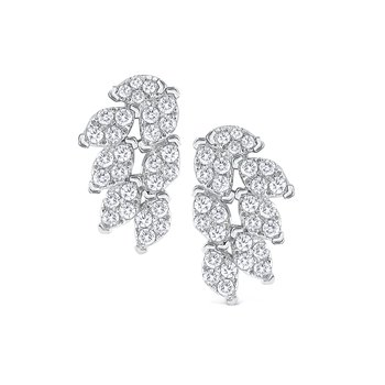 Diamond Fan Earrings Set in 14 Kt. Gold