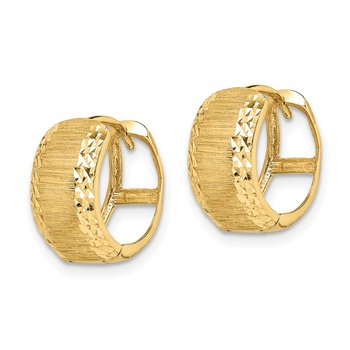 14K D/C and Textured Hoop Earrings