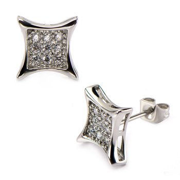Clear CZ in Square Kite Hip Hop Stud Earrings