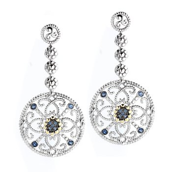 Sterling Silver and 14K Yellow Gold Sapphire Earrings