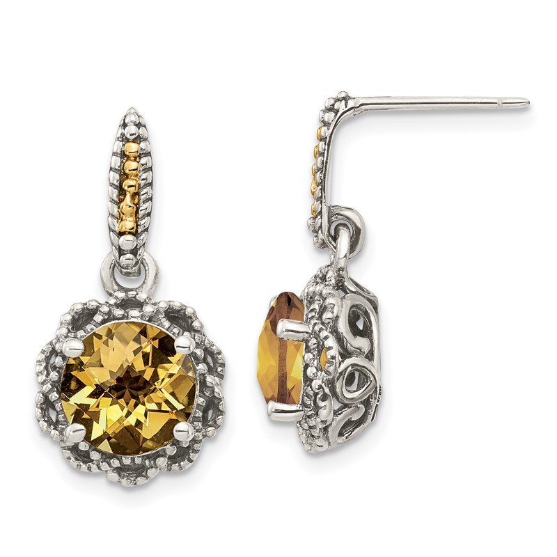 Quality Gold Sterling Silver w/ 14k Polished Citrine Earrings
