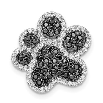 Sterling Silver Rhodium-plated Black/White CZ Paw Print Pendant