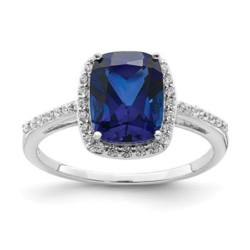 Sterling Silver Rhodium-plated Created Blue Sapphire & CZ Ring