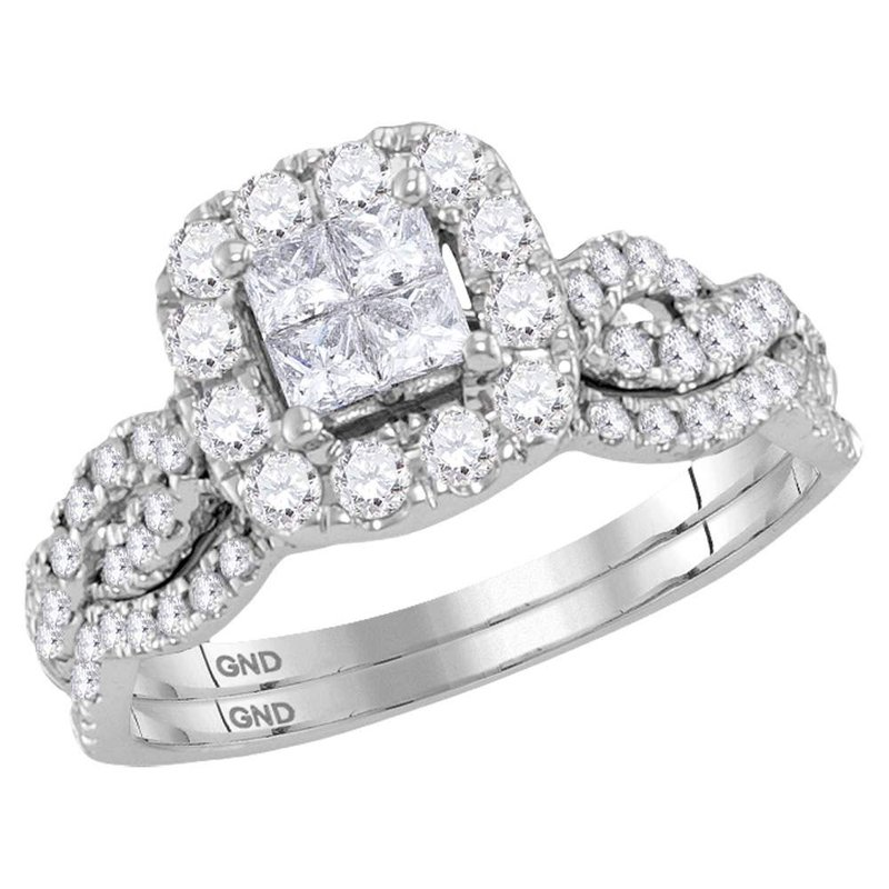 Gold-N-Diamonds, Inc. (Atlanta) 10kt White Gold Womens Princess Diamond Bridal Wedding Engagement Ring Band Set 1.00 Cttw