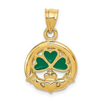 14k Enameled Claddagh Charm