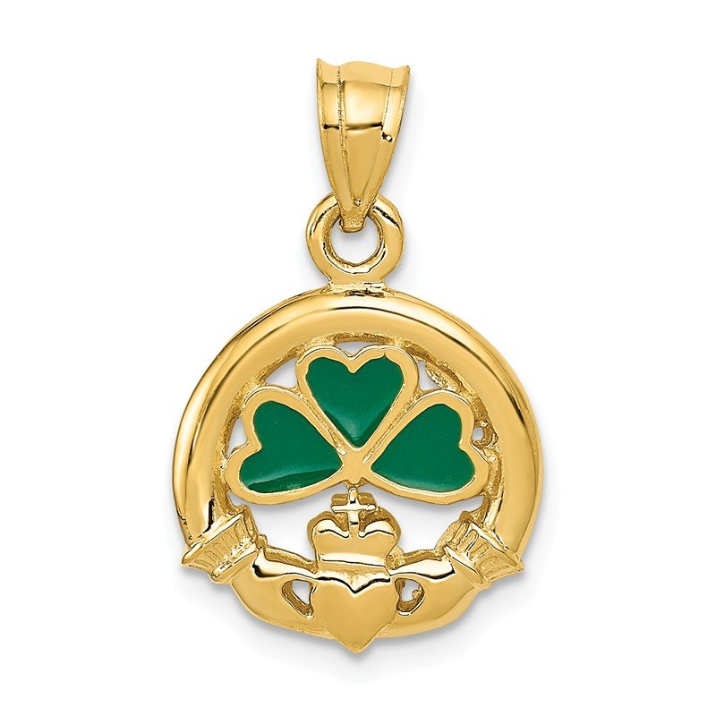 Quality Gold 14k Enameled Claddagh Charm