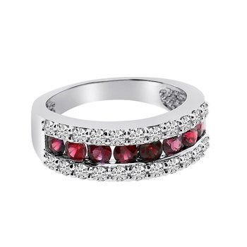 14k White Gold Wide Ruby Ring