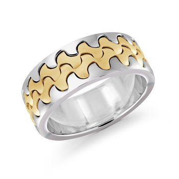 Catch the wave with this 9mm two-tone white and yellow gold interlock center band