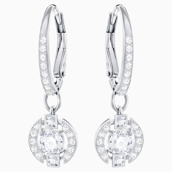 Swarovski Sparkling Dance Round Pierced Earrings, White, Rhodium plated