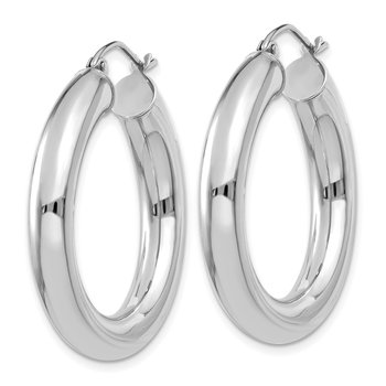 14k White Gold Polished 5mm Tube Hoop Earrings