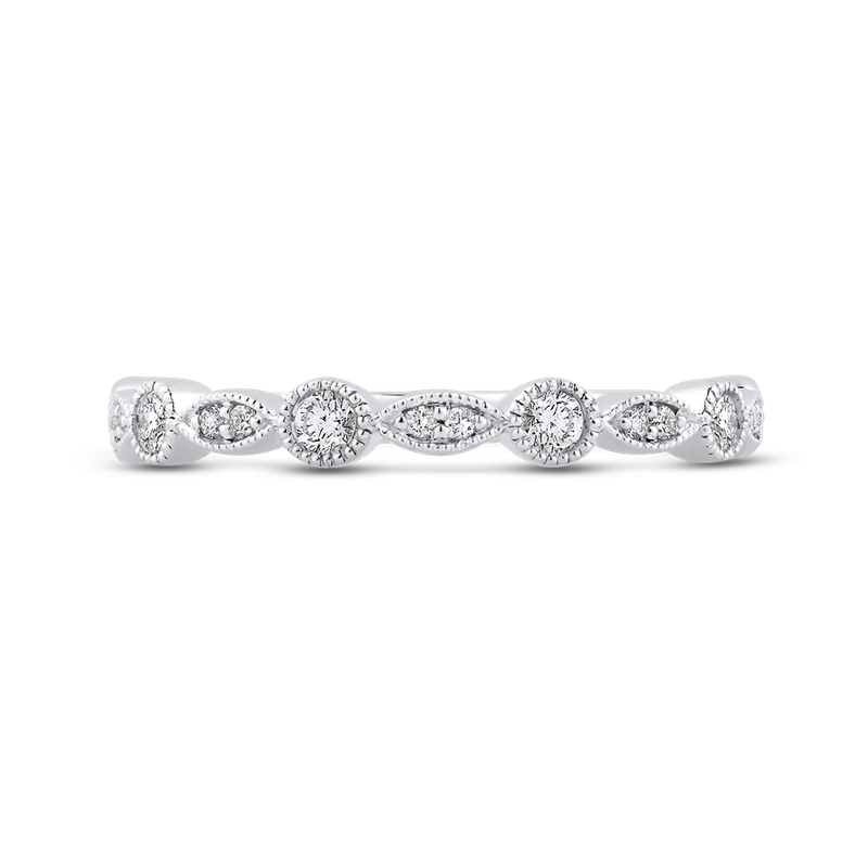 Essentials 10K White Gold 1/4 ct Round Diamond Fashion Wedding Band Ring