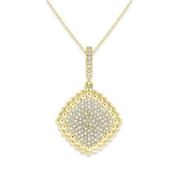 Diamond Concave Square Drop Necklace in 14k Yellow Gold with 107 Diamonds weighing .25ct tw.