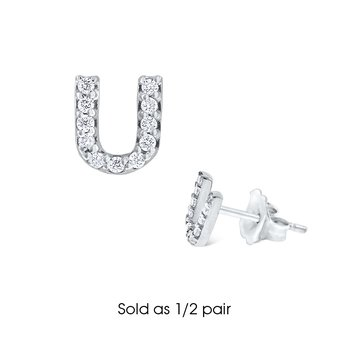 "Diamond Single Initial ""U"" Stud Earring (1/2 pair)"
