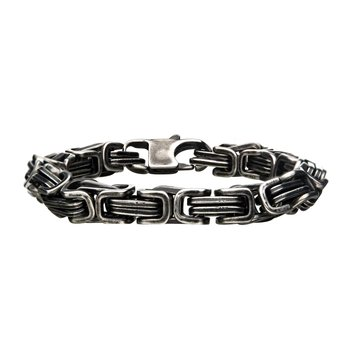 Stainless Steel with Antiqued Finish  Byzantine Link and Chain Bracelet
