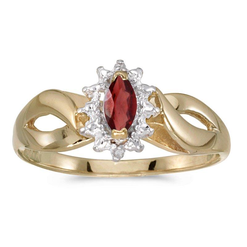 Color Merchants 14k Yellow Gold Marquise Garnet And Diamond Ring