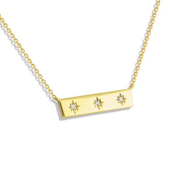 14k Horizontal Bar Necklace with Diamond Accents