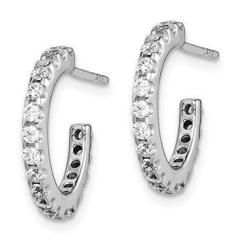 Sterling Silver Rhodium-Plated CZ J-Hoop Earrings