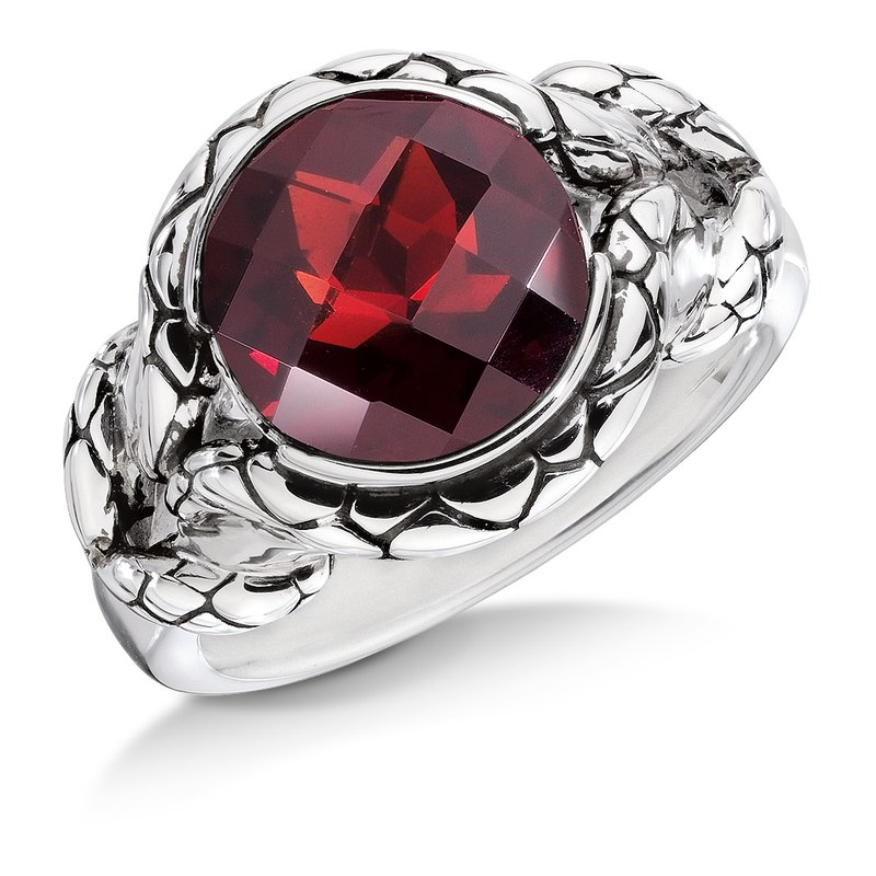 Colore Sg Sterling silver and red garnet ring
