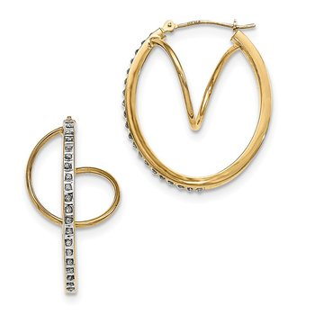 14K Diamond Fascination Twisted Hinged Hoop Earrings