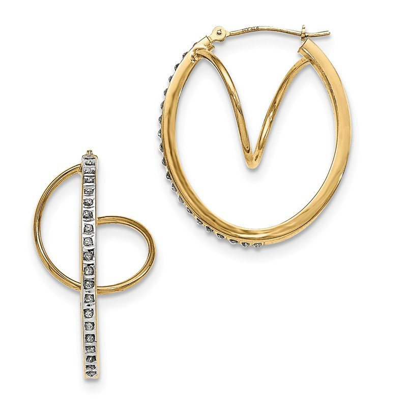 Quality Gold 14K Diamond Fascination Twisted Hinged Hoop Earrings