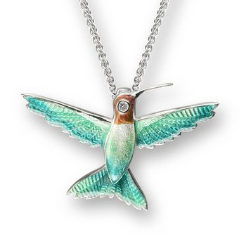 Green Hummingbird Necklace.Sterling Silver-White Sapphire