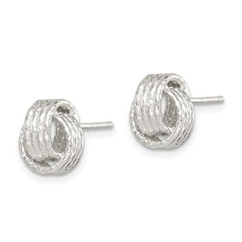 Sterling Silver Textured 8mm Love Knot Post Earrings