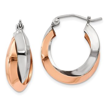 14k Rose and White Gold Polished Oval Hoop Earrings
