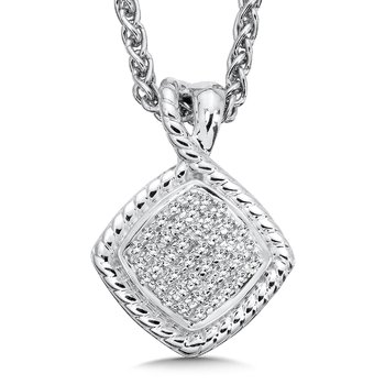 Sterling Silver White Diamond Pendant