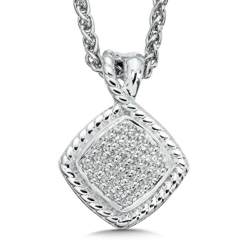 Colore Sg Sterling Silver White Diamond Pendant