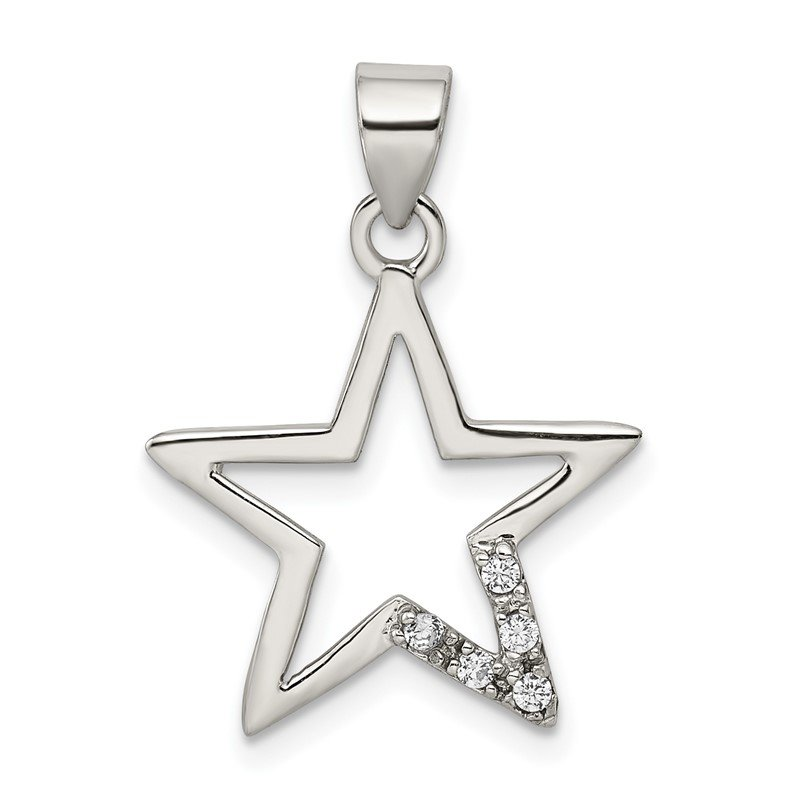 Quality Gold Sterling Silver CZ Star Pendant