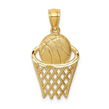 14K Basketball in Hoop Pendant