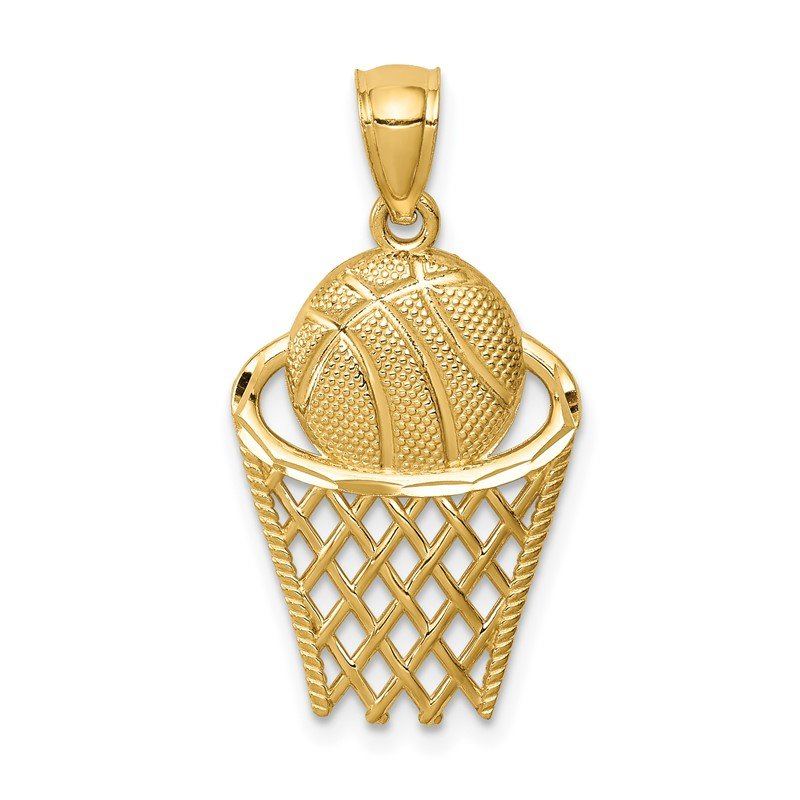 Quality Gold 14K Basketball in Hoop Pendant