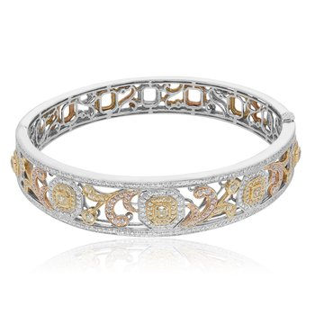 Tri-Colored Radiant Diamond Bangle