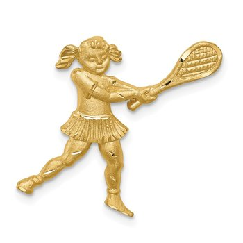 14K Brushed & D/C Tennis Player Chain Slide