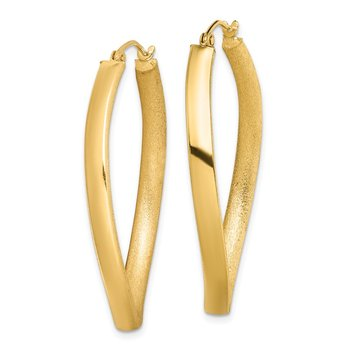 Sterling Silver Gold-plated Textured Wavy 4mm Oval Hoop Earrings
