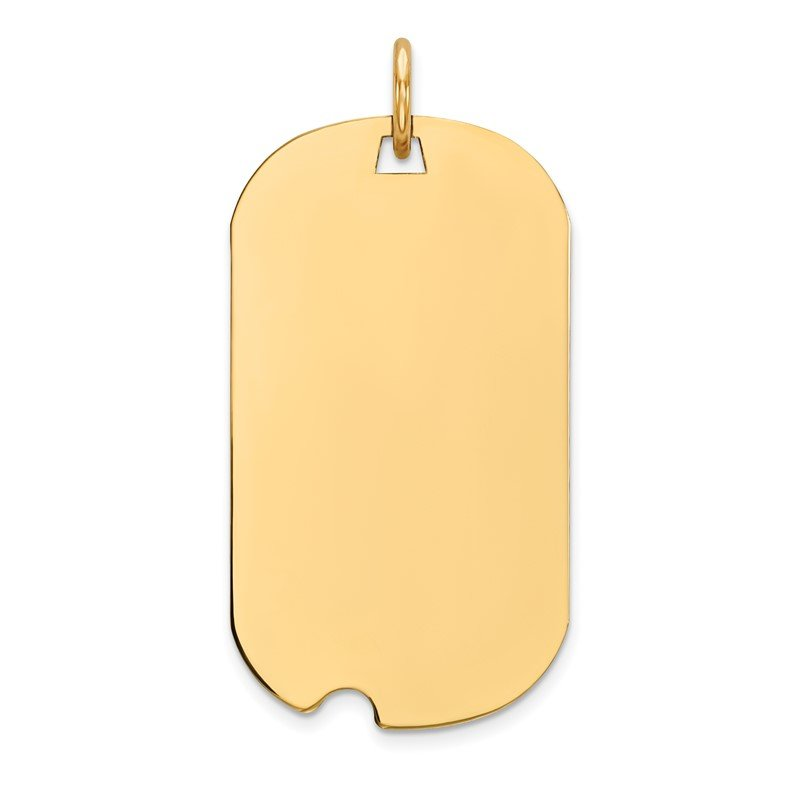 Quality Gold 14k Plain .027 Gauge Engraveable Dog Tag w/Notch Disc Charm