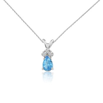 14k White Gold Blue Topaz Pear Pendant with Diamonds