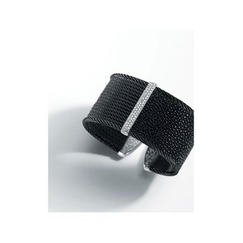 Black Cable & Black Stingray Cuff with 18kt White Gold & Diamonds