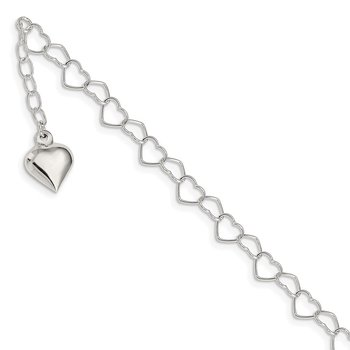 Sterling Silver Polished Puffed Heart 9 in Plus 1in ext. Anklet