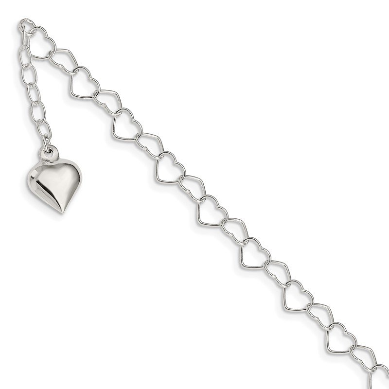Quality Gold Sterling Silver Polished Puffed Heart 9 in Plus 1in ext. Anklet