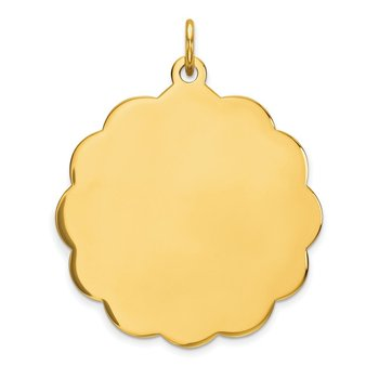 14k .027 Gauge Engravable Scalloped Disc Charm