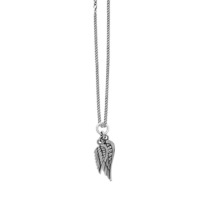 King Baby Double Wing Pendant On Curbed Link Chain