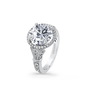 Three Leaf Diamond Halo Engagement Ring
