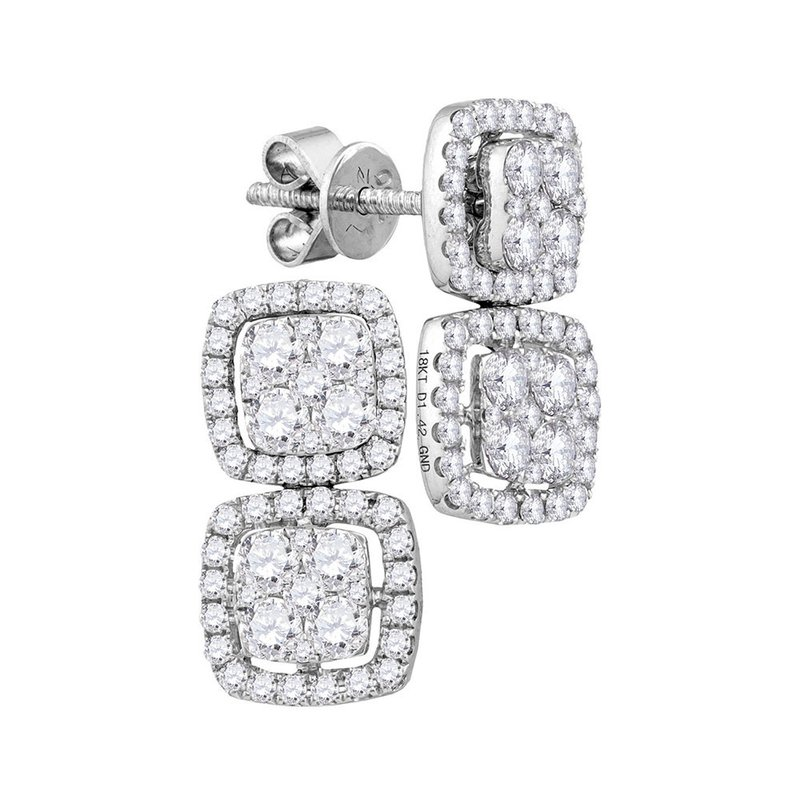 Gold-N-Diamonds, Inc. (Atlanta) 18kt White Gold Womens Round Diamond Convertible Square Dangle Jacket Earrings 1-3/8 Cttw