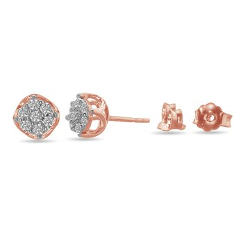 10K RG and Diamond Pave Set Stud Earring