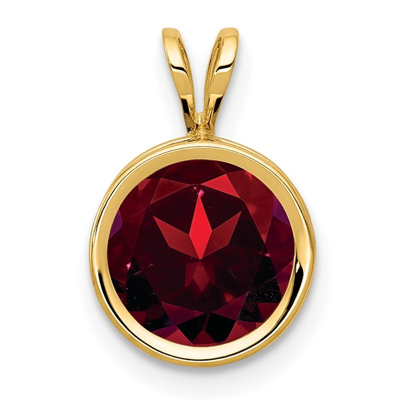 Quality Gold 14k 8mm Garnet bezel pendant