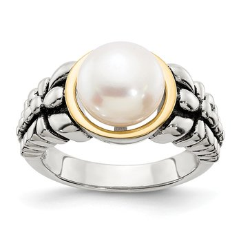Sterling Silver w/14k 9.5-10mm FW Cultured Pearl Ring
