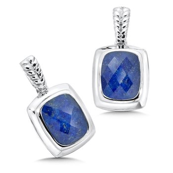 Sterling Silver Lapis and White Quartz Fusion Post Earrings